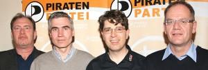 """""""Klarmachen zum Ändern"""" heißt es für die Direktkandidaten der PIRATEN in Rosenheim: Bernhard Häusler, Andreas Stürzl, Dr. Olaf Konstantin Krueger und Thomas G. Weigert. Foto: Dr. Jorg Valentin"""